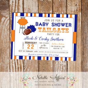 Blue and Orange Football Tailgate Baby Shower Invitation