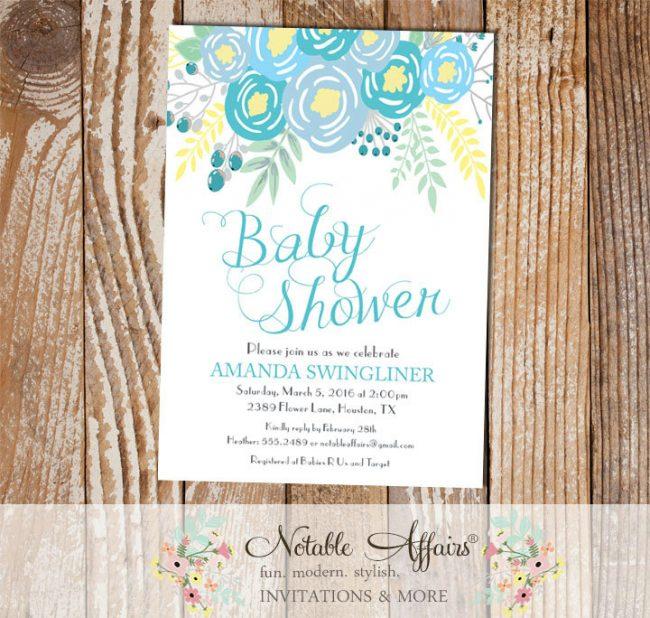 Blue Flowers Modern Baby Shower invitation