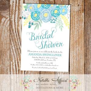 Blue Flowers Modern Bridal Shower invitation