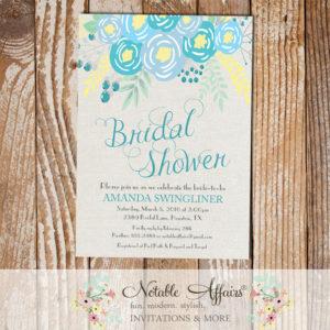 Blue Flowers Modern Bridal Shower invitation on gray burlap background