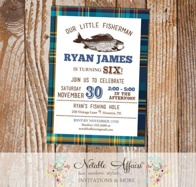 Blues and Greens plaid Vintage Fish Little Fisherman BIRTHDAY invitation
