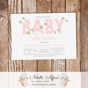 Blush Light Pink Flower Posie Modern Floral Baby Shower invitation on gray linen