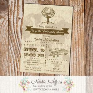 Boy Baby Shower Old World Map Globe Rustic  Vintage Baby Shower Invitation