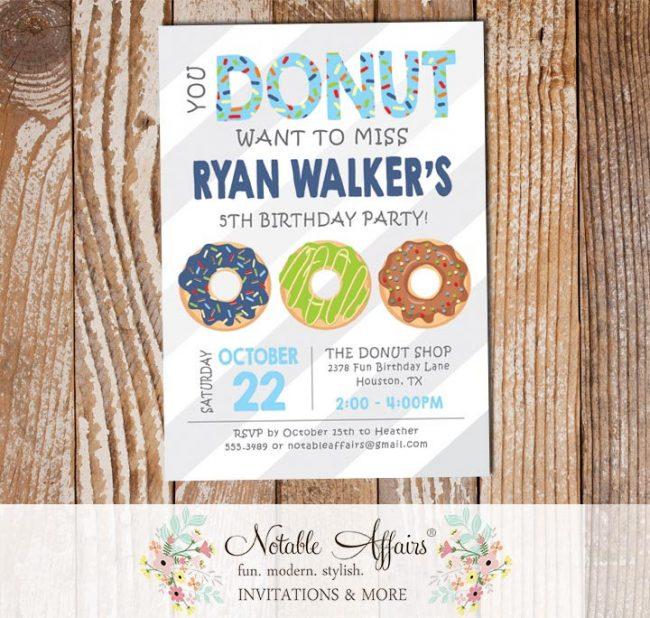 Boy Blue Donuts Sprinkles Colorful Birthday Invitation gray diagonal stripes