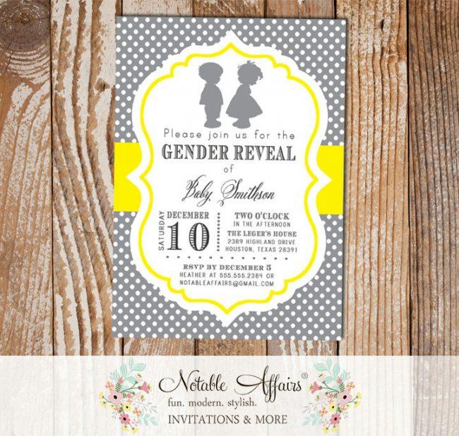 Boy Girl Silhouette Baby Shower Gender Reveal Birthday Twins Gender Neutral Party Invitation