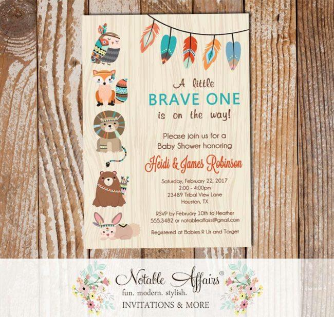 Brave One Tribal Woodland Fox Bear Baby Shower Invitation wood background