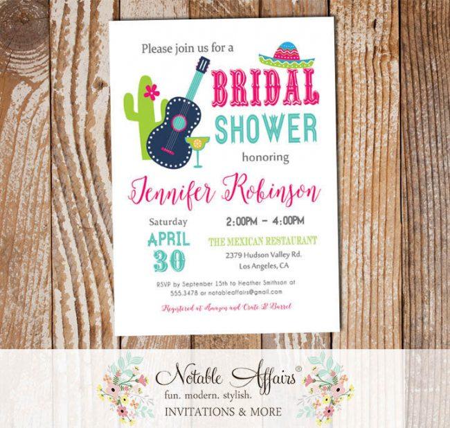 Bright Colorful Mexican Fiesta Invitation Bridal Shower invitation
