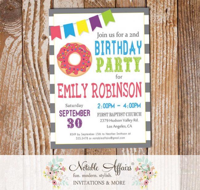 Bright Colors Modern Confetti Dots Donut Sprinkles Birthday Invitation