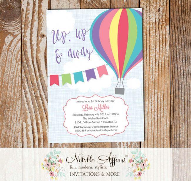 Bright Pink Purple Mint Hot Air Balloon Birthday invitation on blue linen