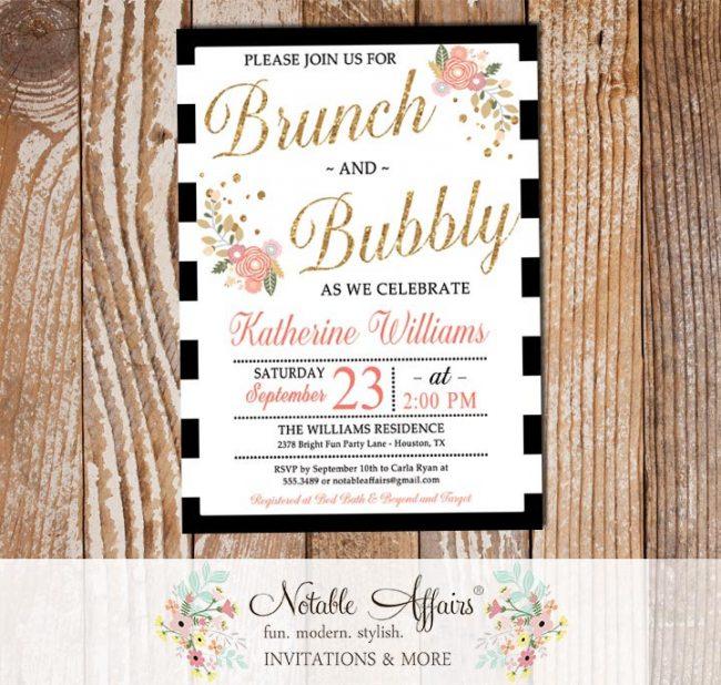 Brunch and Bubbly Mimosas Floral Black Stripe Bridal Shower Brunch Invitation