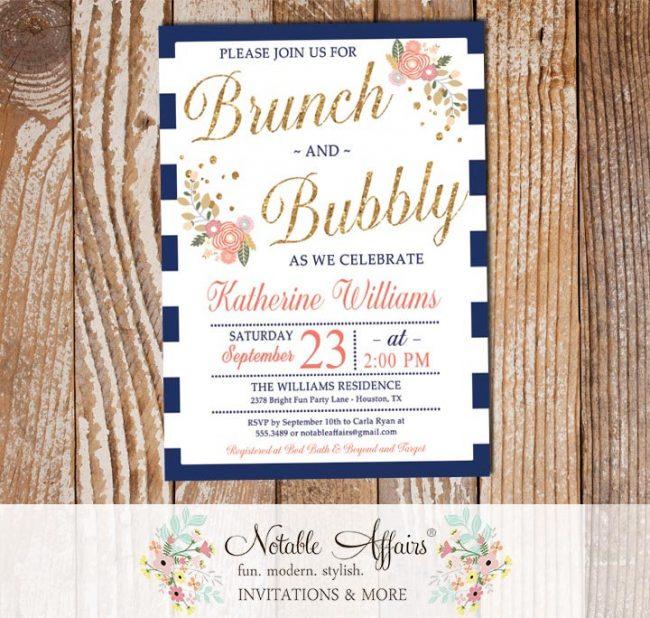 Brunch and Bubbly Mimosas Floral Navy Stripe Bridal Shower Brunch Invitation