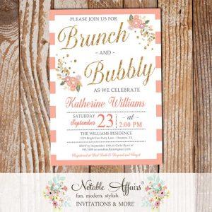 Brunch and Bubbly Mimosas Floral Stripe Bridal Shower Brunch Invitation