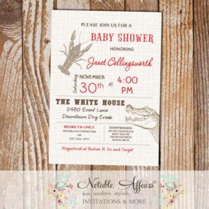 Cajun Style Crawfish Alligator Baby Shower Bridal Shower invitation on brown linen
