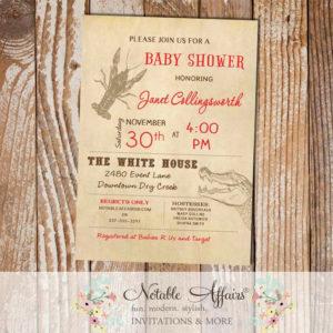 Cajun Style Vintage Crawfish Alligator Baby Shower Bridal Shower invitation