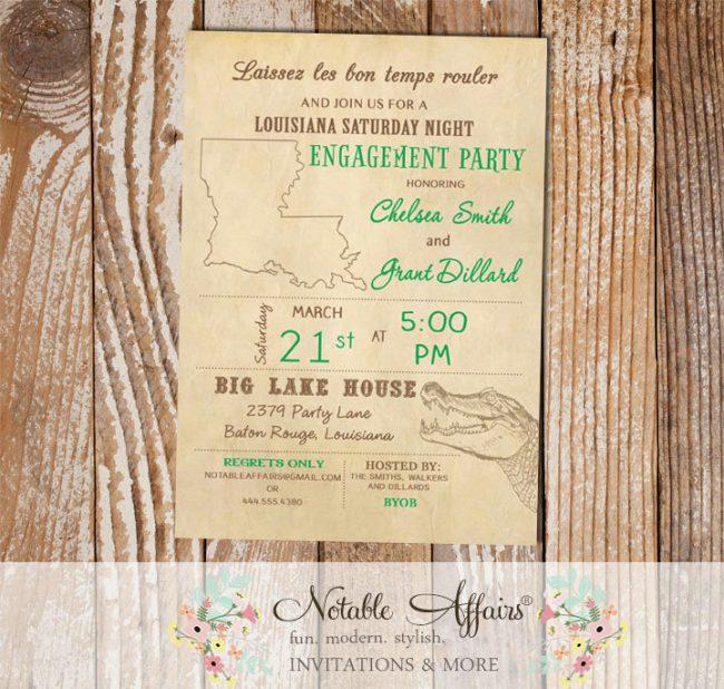 Cajun Style Vintage Louisiana Alligator Baby Shower Bridal Shower Engagement Party etc invitation