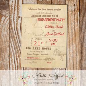 Cajun Style Vintage Louisiana Pig Cochon de Lait Baby Shower Bridal Shower Engagement Party etc invitation