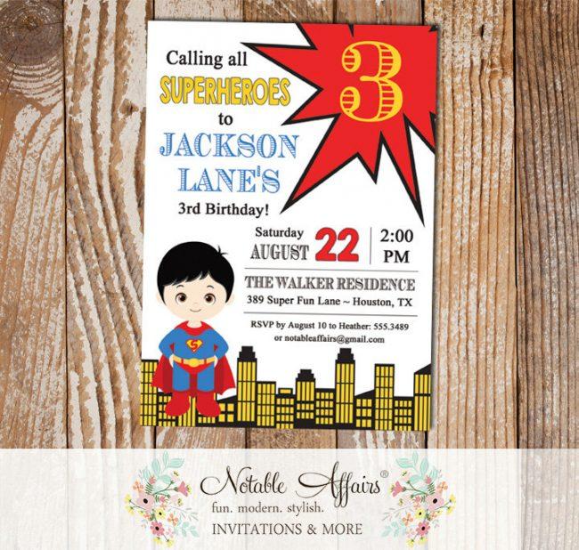 Calling All Superheroes Superman Birthday Party invitation