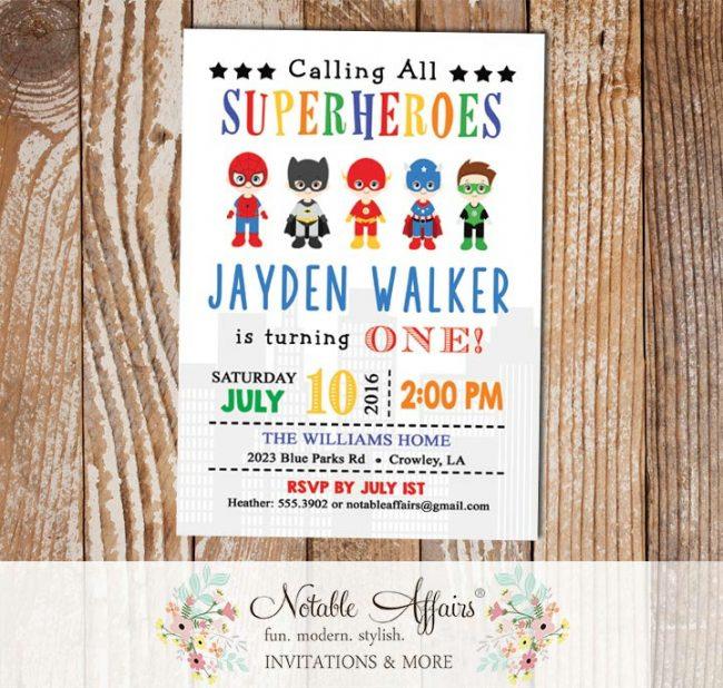 Calling All Superheroes Vertical Batman Spiderman Superman Green Lantern etc Birthday Party invitation