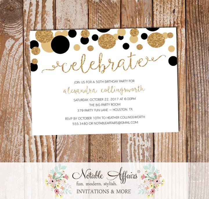 Celebrate black and gold confetti dots sprinkle birthday invitation baby girl baby sprinkle invitation filmwisefo