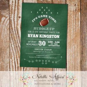 Chalkboard Football Play Birthday Invitation