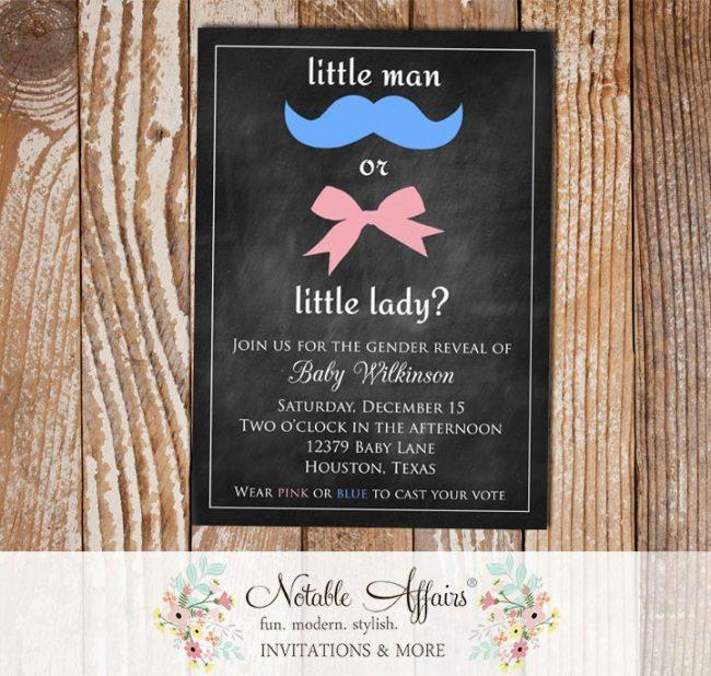 Chalkboard Gender Reveal Little Man or Little Lady Miss Invitation