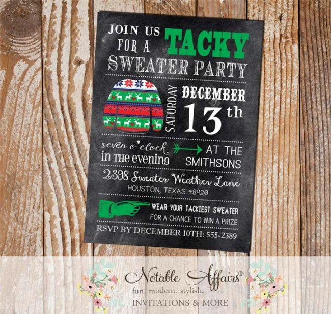 Chalkboard Tacky Sweater Christmas Party Invitation