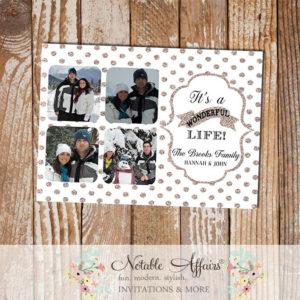 Champagne Gold Glitter Sparkle White Polka Dot Its a wonderful life Holiday Photo Card