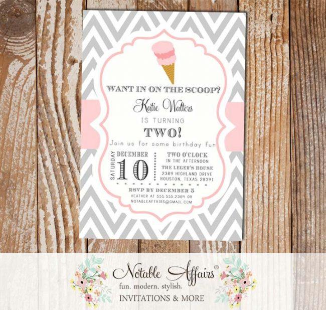 Chevron and Light Pink Chevron Ice Cream Cone Dessert Birthday Party Baby Shower Modern Invitation