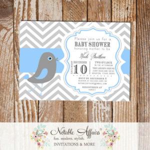 Chevron Bird Little Birdie told us Baby Boy shower or birthday party