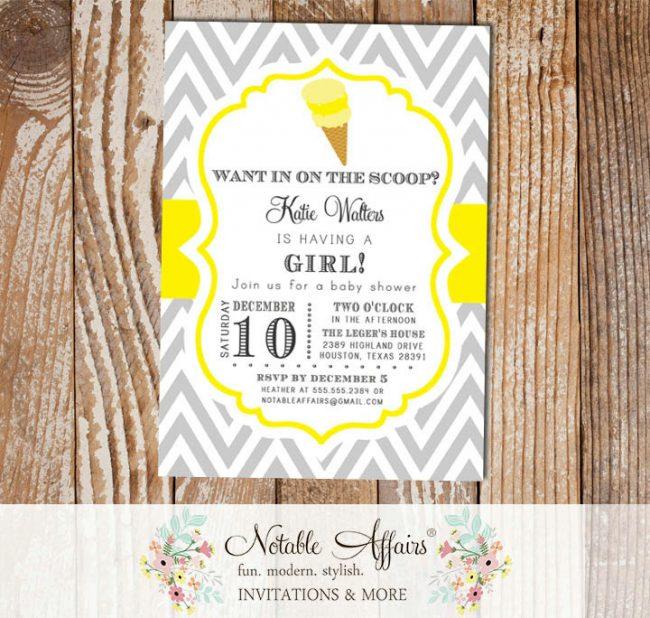 Chevron Gray and Light Butter Yellow Ice Cream Cone Dessert Birthday Party Baby Shower Invitation