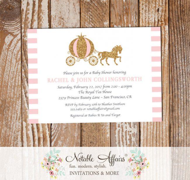 Cinderella Princess Horse Carriage Baby Shower or Birthday Invitation