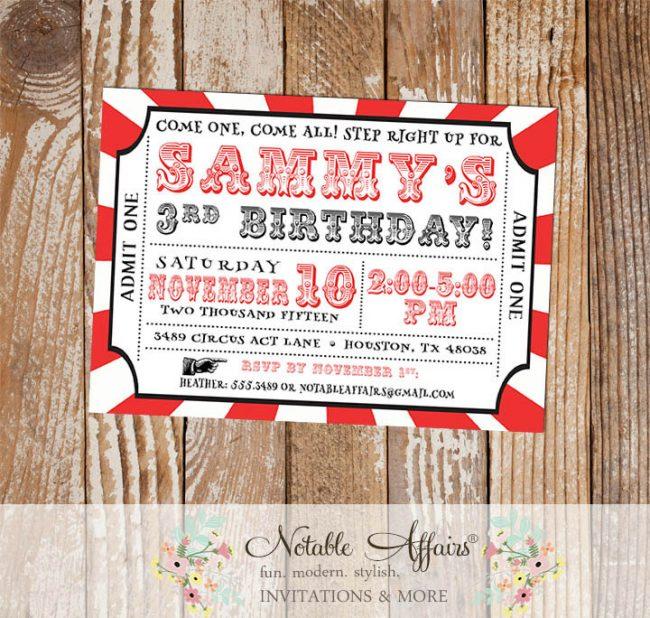 Circus Come One Come All Birthday Party Ticket Invitation