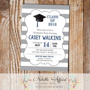 Class of 2016 Graduation Party on gray horizontal stripes