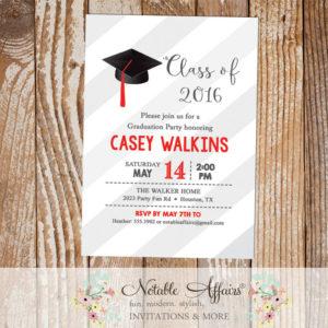 Class of 2016 Graduation Party Senior High School College Graduation Invitation on gray diagonal stripes