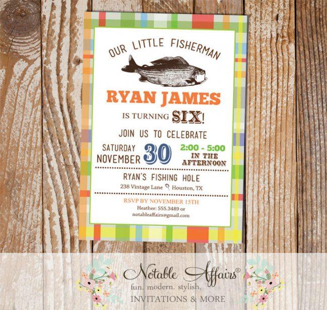 Colorful plaid Vintage Fish Little Fisherman BIRTHDAY invitation