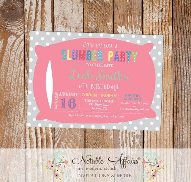 Colorful Slumber Party Pillow Polka Dots birthday party invitation