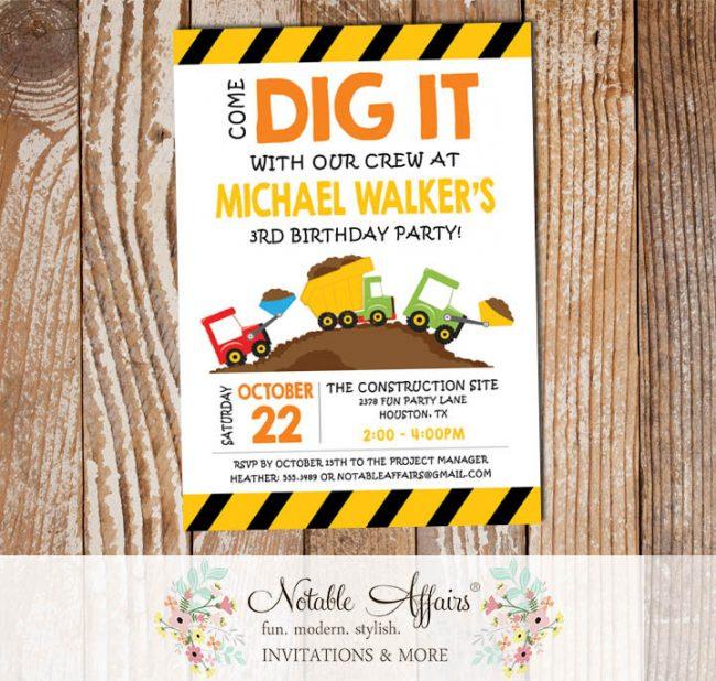Come Dig It Bulldozer Dump Truck Yellow Black Construction Birthday Party Invitation