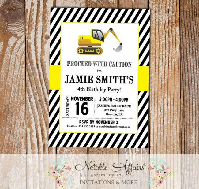 ConstructionTractor Dirt Bulldozer Yellow Black White Modern Birthday Party Invitation