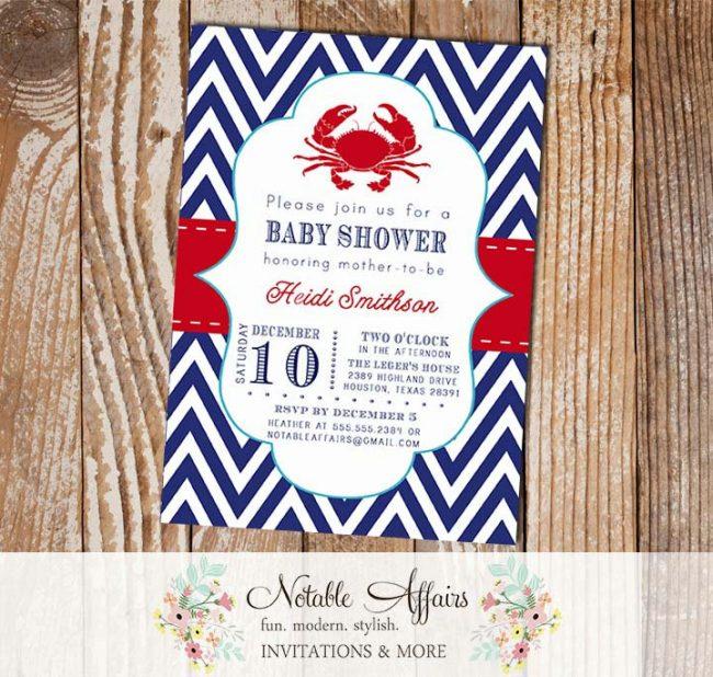 Crab Nautical Sailing Navy Red Chevron White baby shower or birthday party invitation