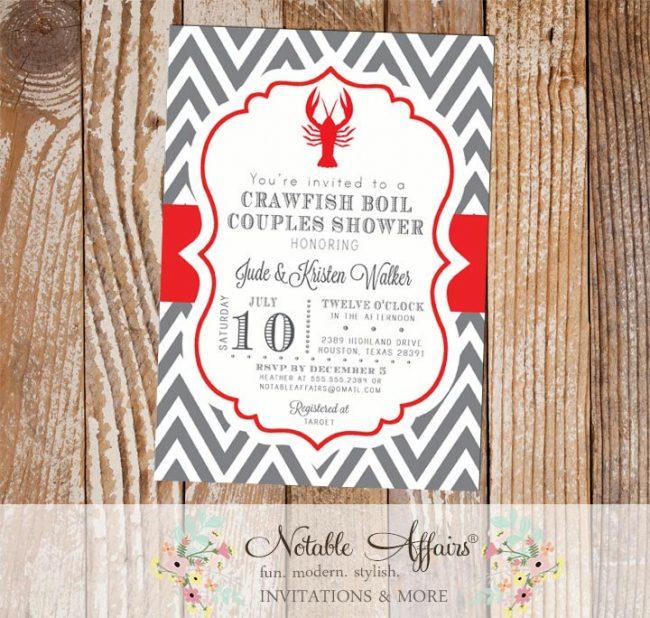 Crawfish Boil Couples Shower Party Celebration Engagement Couples Shower Invitation