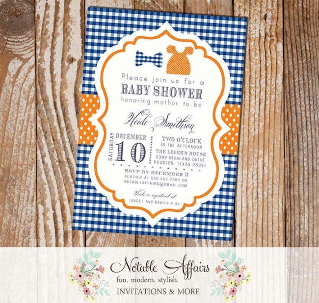 Dark Blue Gingham and Orange Bowtie Polka Dots Dress Twins Baby Shower or Twins Birthday Invitation