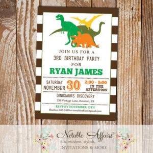 Dark brown stripes dinosaurs modern birthday party invitation