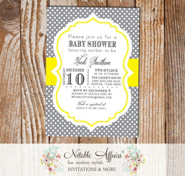 Dark Gray and Yellow Polka Dots Baby Shower Birthday etc Invitation