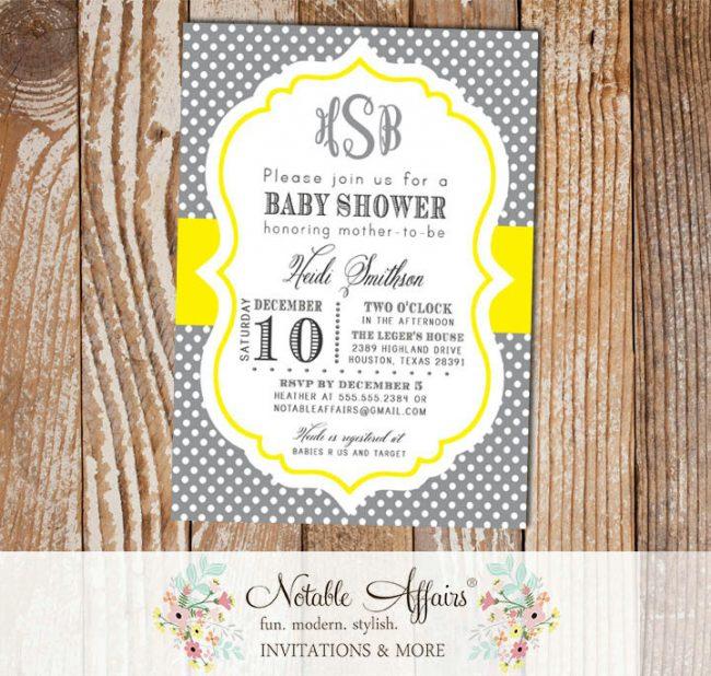 Dark Gray Charcoal and Bright Yellow Monogram Polka Dot Baby Shower Birthday Bridal Shower etc Invitation