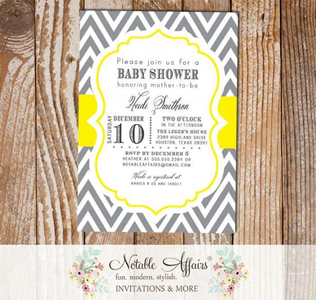 Dark Gray Charcoal and Yellow Chevron Modern Baby Shower Birthday Bridal Shower Invitation