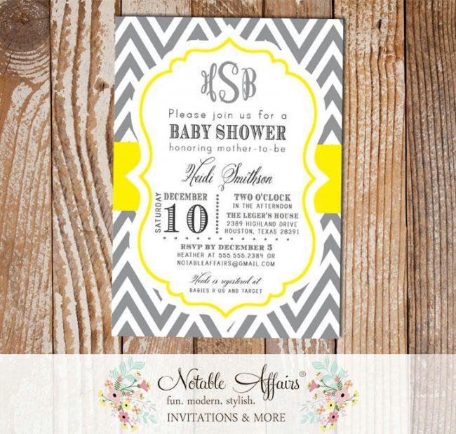Dark Gray Charcoal and Yellow Monogram Chevron Modern Baby Shower Birthday Bridal Shower Invitation