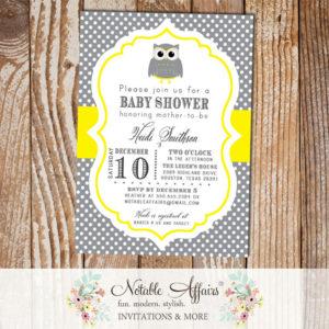 Dark Gray Charcoal and Yellow Mustard Owl Polka Dot Modern Baby Shower Birthday Bridal Shower Invitation