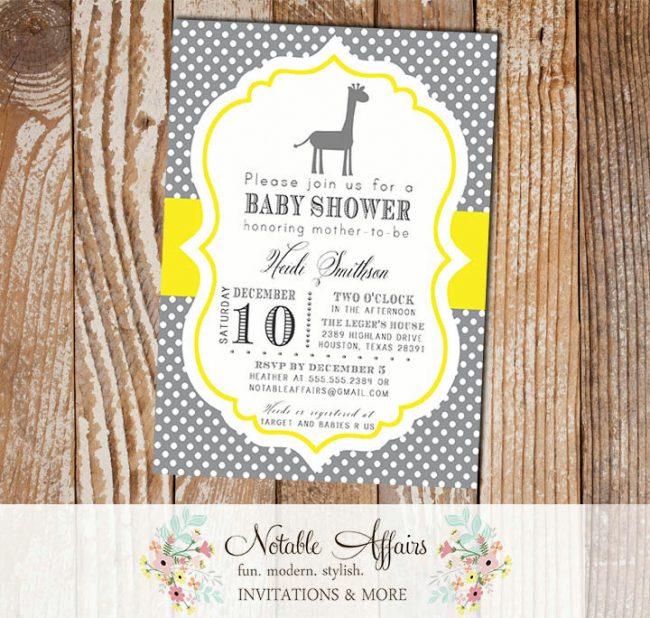 Dark Gray Charcoal and Yellow Mustard Polka Dot Giraffe Modern Baby Shower Birthday Bridal Shower Invitation