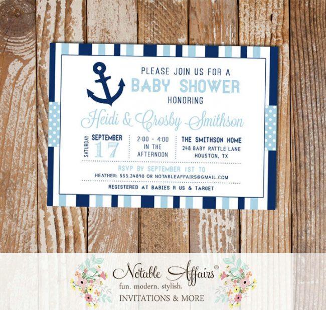 Dark Navy and Light Blue Anchor Stripes and Polka Dots Baby Shower invitation