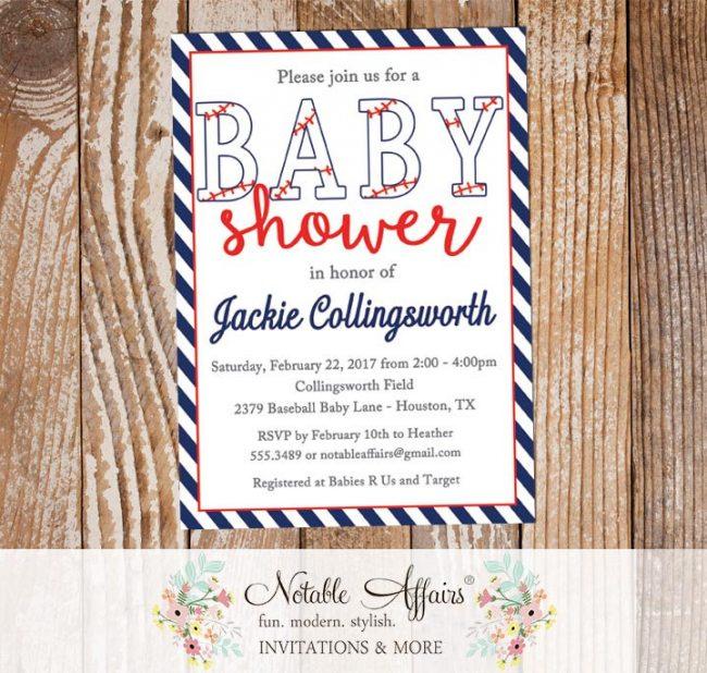 Dark Navy and Red Diagonal Stripes Baseball Stitching Baby Shower Invitation All Star Baby Shower Little Slugger Baseball Baby Shower